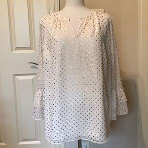 NWT Talbots ivory polka dot blouse Sz 2XP
